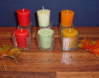 Set of 6 votive candles and 6 square glass candle holders, pillar