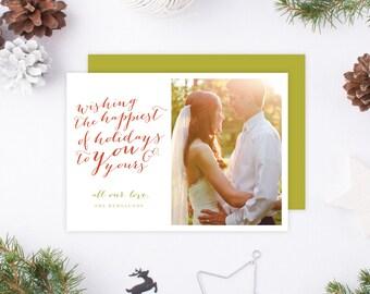 Just Married Christmas Card | DIY Printable PDF Wedding photo on Holiday Card, Photo Christmas card, Happy Holidays, Wedding Christmas Card