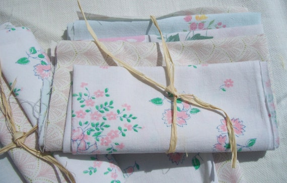 Bundle of Fabric Les Fleurs Vintage French Floral Cotton Material patchwork quilting projects