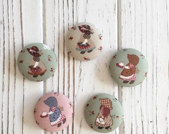 cute fabric covered button ponytail holder-little bonnet girl 4colors-country girl