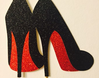 Glitter Cardstock High heels cake topper (Choose your colors)