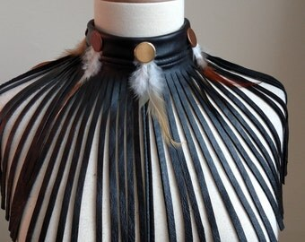 Black Leather Choker with Feathers, One of A Kind #cherryswandesigns