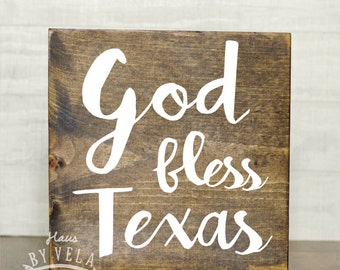God Bless Texas Calligraphy Wooden sign - Home Decor