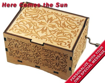 "Jewelry Music Box,  ""Here Comes The Sun"", Laser Engraved Wood Hand Crank Storage Music Box"