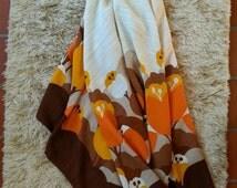 Retro Tablecloth. 70's Tablecloth. Orange and Brown Tablecloth. Retro Linen.