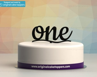 "Baby First Birthday Cake Topper - ""one"" - BLACK - OriginalCakeToppers"