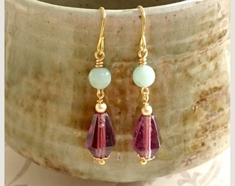 Vintage style earrings with purple glass and semi precious beads