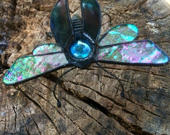 Stained glass carabee bug, suncatcher ,geeky home decor, home decor , stained glas ,geeky ,stained glass art, gift ,