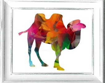 Middle Eastern Camel Print,#Bright,#Colorful,#Double Hump,#Animal,#DigitalandPrintableArt, #HomeDecor,#InteriorDesign,#Downloadable