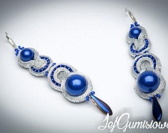 Soutache earrings. Silver soutache. Blue and silver earrings. Hand-embroidered soutache earrings. Long soutache earrings. Braid earrings.