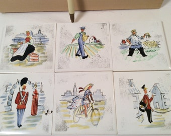"Ceramic Small Handpainted Denmark City & Country Scene Coasters Set of 6 3"" x 3"" Boxed Danmark Serien S Christian"
