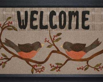 "PATTERN ""Welcome"" wool applique framed picture"