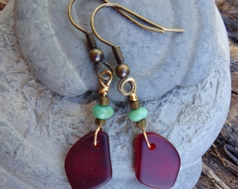 Rich Red Recycled Glass Earrings