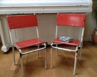2 x Red Vintage Children's School Chairs