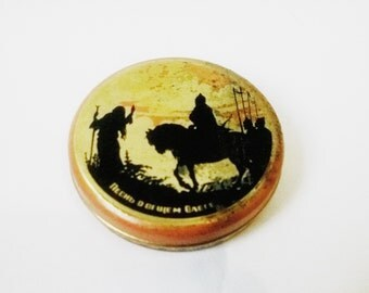 50's Vintage Soviet Tin Container, Knights, Candy Tin, Collectible