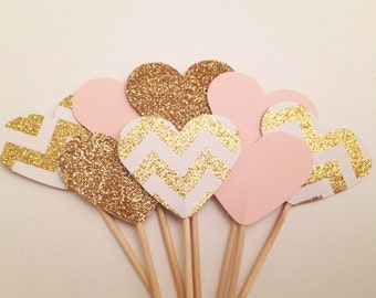 Pink and gold cupcake toppers, pink gold cake topper, gold chevron glitter hearts