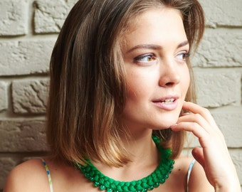 Green Braided  Necklace Сotton Necklace Eco-friendly necklace Bib Necklace Statement Necklace Gift For Her Textile jewely Trend 2016