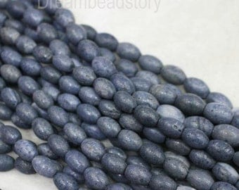 Natural Blue Coral Oval Beads, Full Strand 10*14mm 12*16mm Rice Shape Beads for Jewelry Making