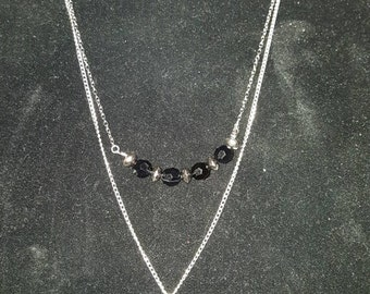 Double Layer Silver/Black Rose Necklace