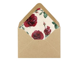 Printable Red Roses Envelope Liner/Patterned Backer 8.5 x 11 - INSTANT DOWNLOAD