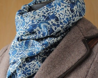Liberty Of London William Morris Lodden Scarf Blue