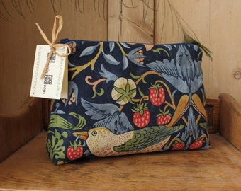 William Morris Strawberry Thief Cosmetic Bag Indigo