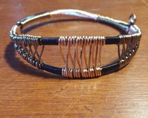 Wire wrapped bracelet, copper wire jewelry, handmade, custom design. Free shipping for a limited time only!!!