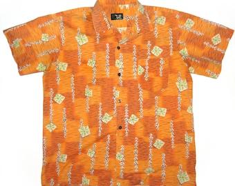 Vintage 60s Orange Hawaiian Shirt L or XL