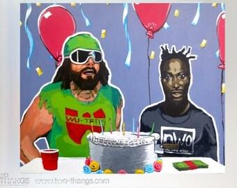 Signed Macho Man Randy Savage and ODB mash up 11x17 art print in hard plastic presentation case