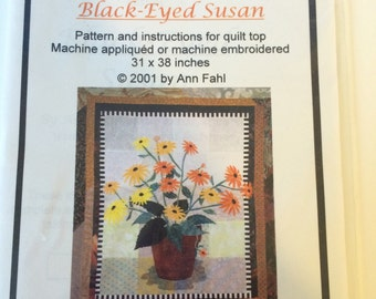 Black Eyed Susan Quilt Wall Hanging Pattern by Ann Fahl