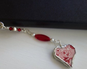 Unique bookmark- broken china bookmark-red and white china broken plate bookmark- red heart bookmark- book lovers gift-