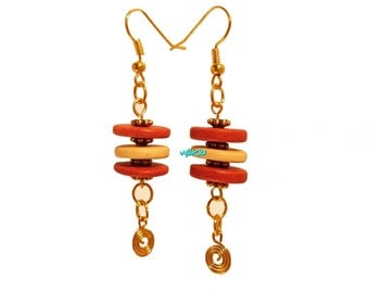Earrings with red and cream ceramic beads