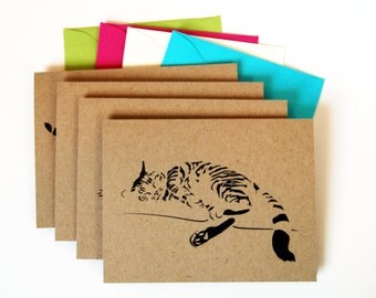 Cat Card Set, Blank Cards, Sleeping Cats, Tabby Cats