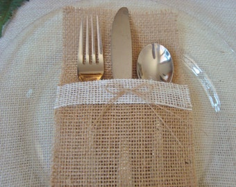 10 Burlap Silverware Holders – Color: Tan/Brown/Natural, with White/Cream Burlap Strip and Brown Burlap Bow