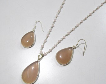 Pink Chalcedony and Sterling Silver Pendant Set with Beaded chain Optional/ Pear Shape cabochon / Size22x43mm including Bail