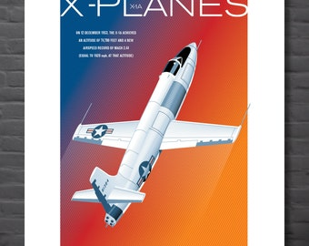 Retro print aircraft: X-Planes, graphic illustrated aircraft poster,  Bell X-1A