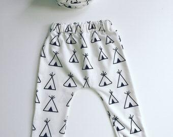 Baby leggings-boy leggings-toddler leggings-tribal leggings-baby boy pants-boy pants-pants-leggings set-free bow-baby hat-boys hat-scarves