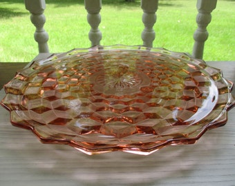 Pink Indiana Glass Whitehall Cake Plate 3 footed