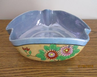 Nippon Lusterware Blue & Tan Floral Bowl with Birds