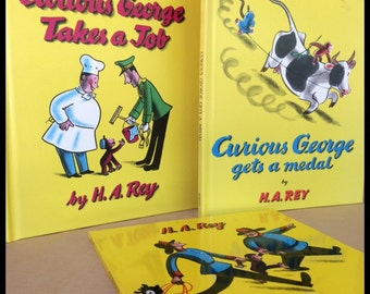 Set of 3 Curious George Books...H. A. Ray...Excellent Condition...2 Hardbacks and 1 Paperback...