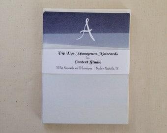 Monogram Notecard Set of 10 with Envelopes, A, Dip Dye