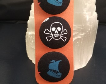 Pirate buttons set of 3 large handcovered with cotton fabric on a 38mm base with shank back.