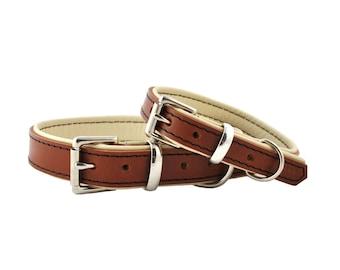 Tan on Cream - Padded Leather Dog Collar - Handmade to Order