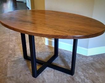 Oval Table Desk Top   Solid Black Walnut Wood // Conference, Desk, Dining