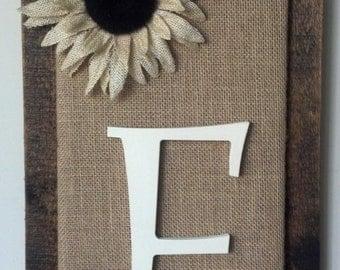 Initial Sunflower Burlap Pallet Art Repurposed Wood Wall Hanging