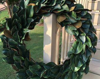 Magnolia Wreath~Magnolia Farms-Fixer Upper~Artificial Magnolia Leaves~Front door wreaths~year round wreaths~southern wreath~farmhouse decor