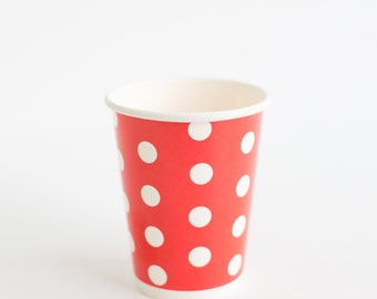 10 red polka dots paper cups 9oz