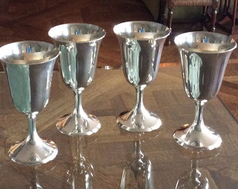"""Set of Four 1950s Stieff Sterling Silver Water Goblets, Pattern 0801, 6 1/2"""" Tall, Perfect Holiday Gift"""