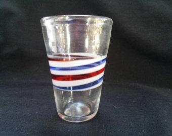 Barbershop pole style hand blown shot glass!!