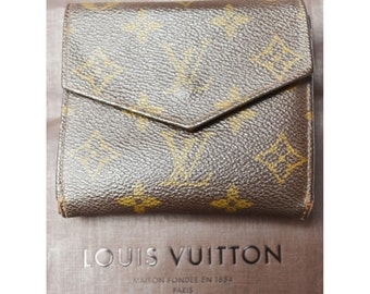 Louis Vuitton Authentic Monogram Trifold Wallet Brown Date Code Vintage With Box